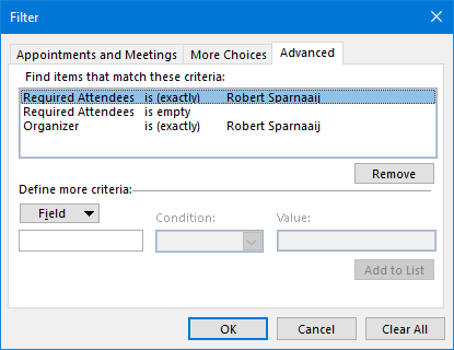 Conditional Formatting - The 3 filter criteria to find Appointment items and highlight them.