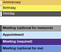 Conditional Formatting - Example to highlight Holidays, Birthday, Anniversaries, Meetings and Appointment all in a different color.