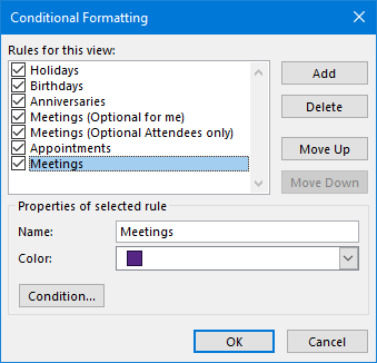 Conditional Formatting - Rules to highlight Holidays, Birthday, Anniversaries, Meetings and Appointment all in a different color.