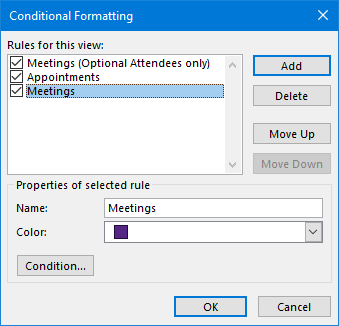 Conditional Formatting - Rules to highlight Meetings in a different color than Appointments
