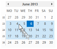 Use the Date avigator to select how many weeks you want to see in the Month view.