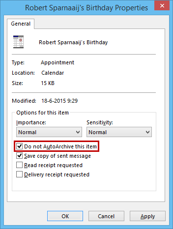 Calendar item - Do not AutoArchive this item