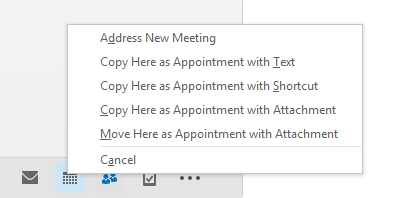 Quickly create an appointment with details from an existing item by using drag & drop with your right mouse button.