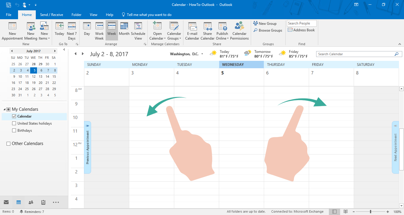 outlook keyboard shortcut switch to calendar