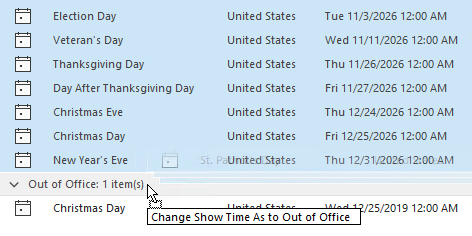 "Drag & drop the ""Free"" items onto the ""Out of Office"" group."