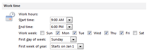Working days and time options in Outlook 2010.