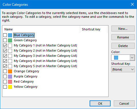 "New Categories assigned to an foreign Outlook item are marked with ""Not in Master Category List""."