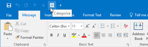 Adding the Categorize button to the Quick Access Toolbar (QAT) by using a VBA Macro.