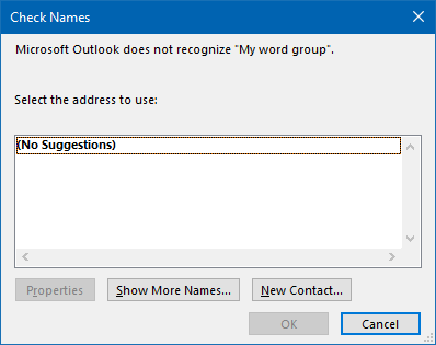 By canceling the Check Names dialog, you can create a rule that looks for specific words in the display name of the sender instead of only the address.