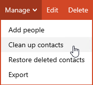 Clean up contacts - Outlook.com
