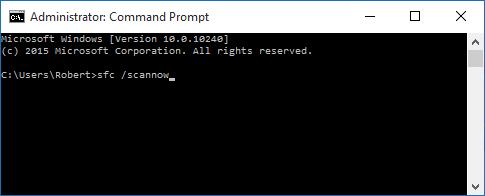 Command: sfc /scannow