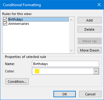 Automatically color code Calendar items with Conditional Formatting.
