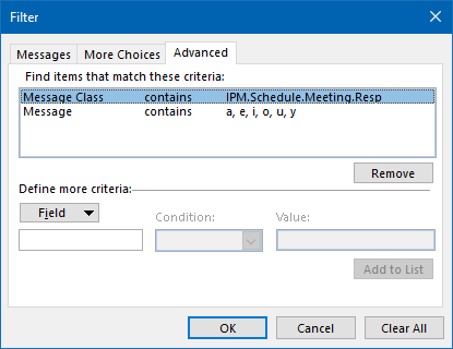 Conditional Formatting - This condition finds all the meeting receipts which contain text.