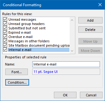 Conditional Formatting - Internal mail