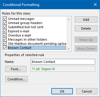 Highlight emails from known contacts with Conditional Formatting.
