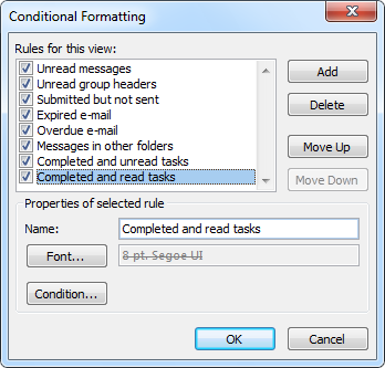Conditional Formatting rules to treat completed mail items like tasks.