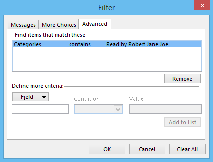 Conditional Formatting Filter - Categories contacts Read by Robert Jane Joe