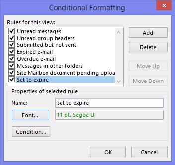 Conditional Formatting - Set to expire