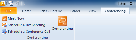 Conference add-in tab in Outlook 2010