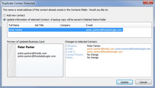 Duplicate contact detected - update information (click on image to enlarge)