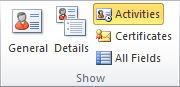 Contact Activities are accessed via the Show group in the Ribbon.