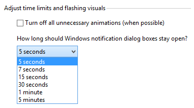 How long should Windows notification dialog boxes stay open?