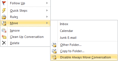 Disabling a conversation Move action can be done via the context menu