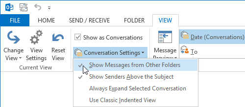 Conversation View allows you to see Calendar items in your Mail folders.