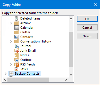 Copy to Folder dialog box