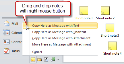 Copy text of multiple notes into a new message by dragging and dropping it with your right mouse key on the Mail Navigation button.