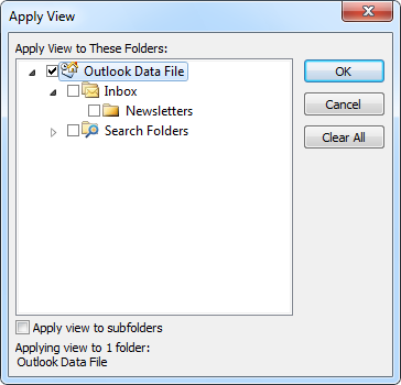 Apply Current View to Other Mail Folders feature in Outlook 2010