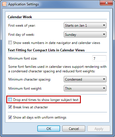 Calendar Printing Assistant: Drop end times to show longer subject text