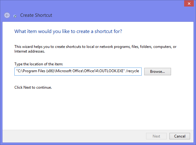 "Creating a custom Outlook shortcut with the ""recycle"" command line switch. (click on image to enlarge)"