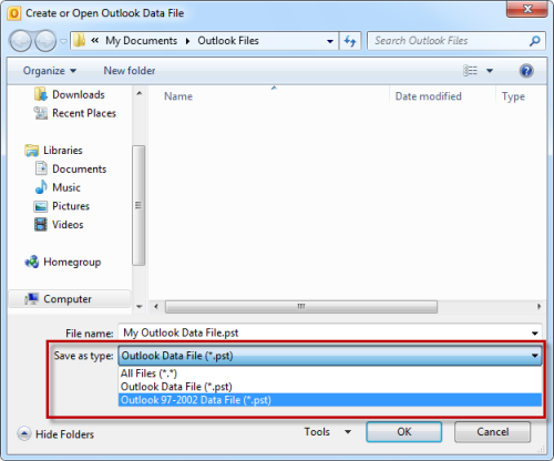 Creating an ANSI pst-file in Outlook 2010 (click on image to enlarge)