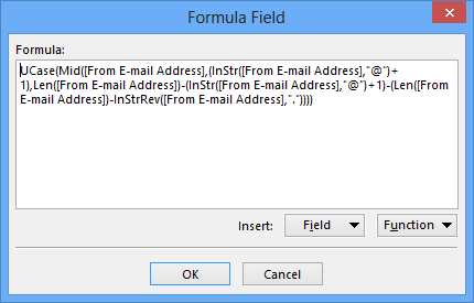 With the above formula, mails from billg@microsoft.com will be tagged with MICROSOFT.