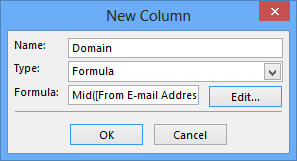 "Defining the new ""Domain"" column as a Formula."