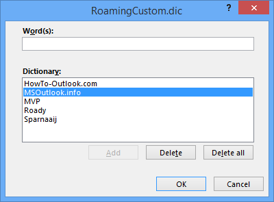 Editing the RoamingCustom.dic word list within Outlook.