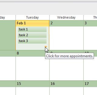 Click on the down arrow to expand the monthly view and show all tasks. (click on image for a full screen view)