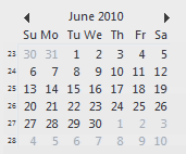 Date Navigator with week numbers