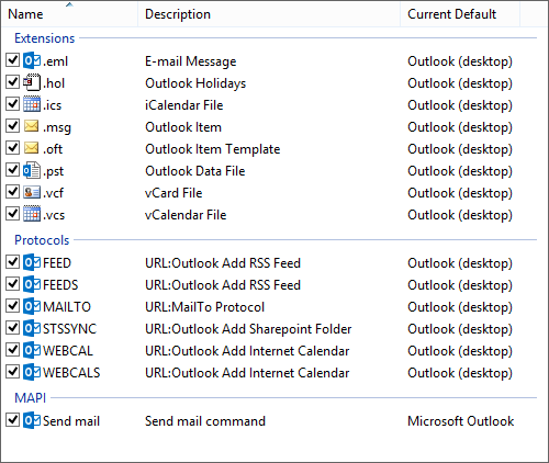 Selecting all the defaults for Outlook 2013 in Windows 8.1. (click on image for full dialog)