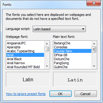 Changing the default web font in Internet Explorer