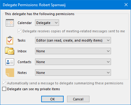 Calendar delegate permissions for Office 365 accounts.