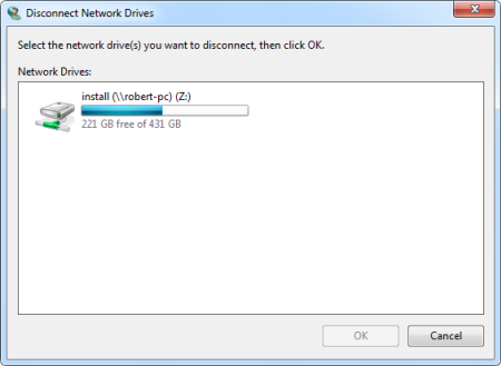 Disconnect network drive
