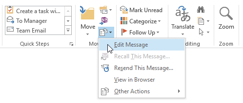 Edit Message command in Outlook 2013