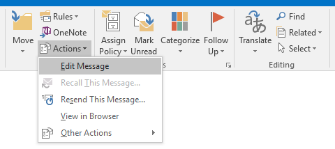 Edit Message command in Outlook 2016