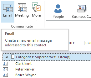 To email to a Contact Group createdin Outlook.com via Outlook, select a Category Group and then press Email.