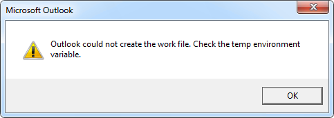Outlook could not create the work file