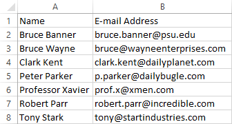 Pasted contact group list in Excel.