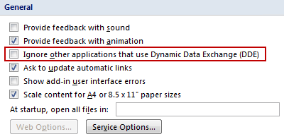 Ignore other applications that use Dynamic Data Exchange (DDE)