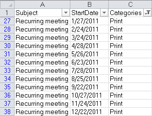 A list of individual dates of a recurring meeting in Excel.